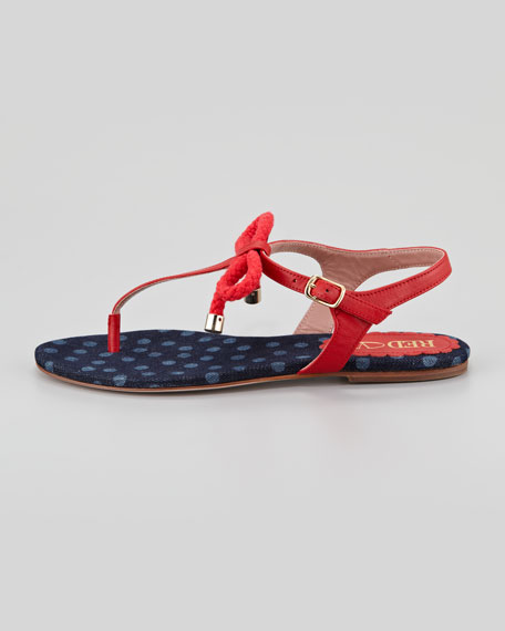 Leather and Rope Bow Thong Sandal