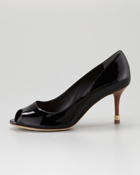 Rea Open-Toe Patent Pump, Black