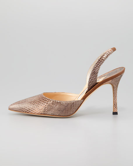 Carolyne Snakeskin High-Heel Halter Pump