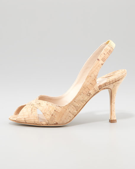 Puspari Metallic-Flecked Cork Slingback Pump, Natural/Gold