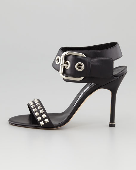 Koyru Studded Ankle-Wrap Sandal, Black