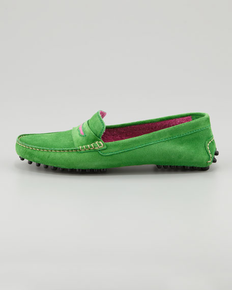 Terry-Trimmed Suede Driver, Green/Fuchsia
