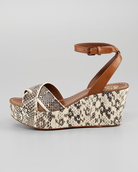 Cathleen Snake-Embossed Flatform Wedge Sandal
