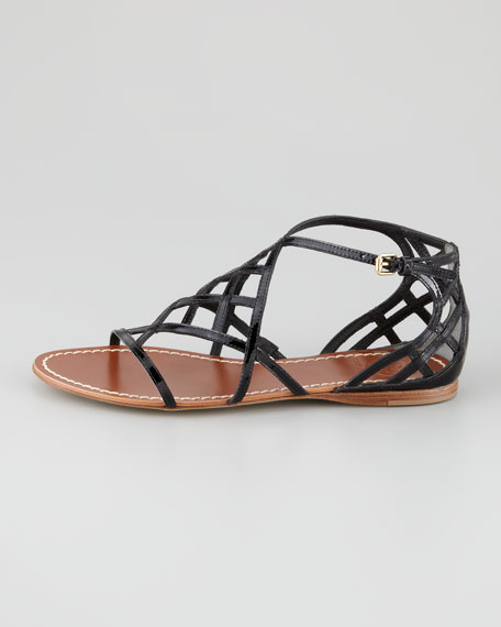 Amalie Patent Flat Cage Sandal, Black