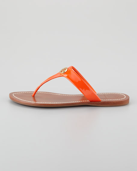 Cameron Patent Logo Thong Sandal, Fire Orange