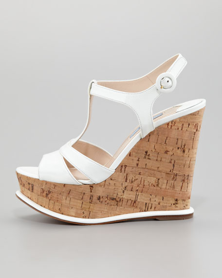 Saffiano Cork-Wedge Platform Sandal, White