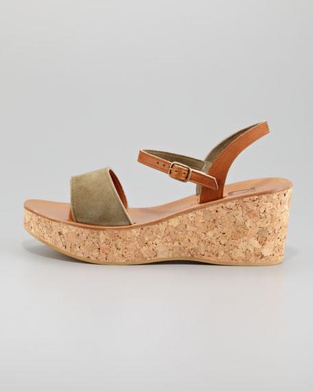 Josy Suede Cork Wedge Sandal, Algae