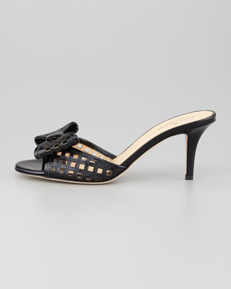 mailyn patent cutout slide, black