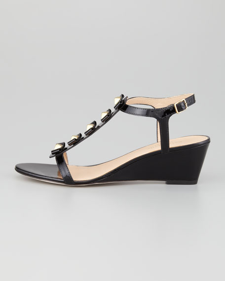 darcey bow-studded wedge sandal, black