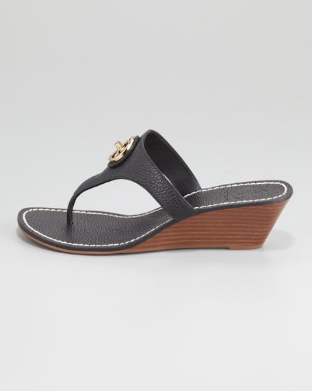 Selma Logo Wedge Thong Sandal, Black