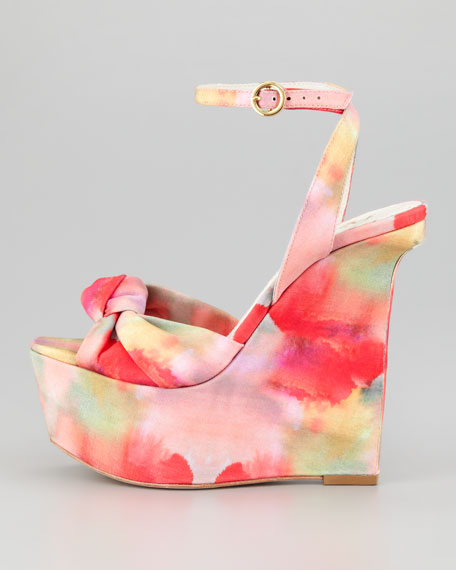 Ilisa Watercolor-Print Wedge Sandal