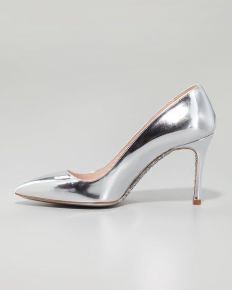 Specchio Pointed Pump, Silver