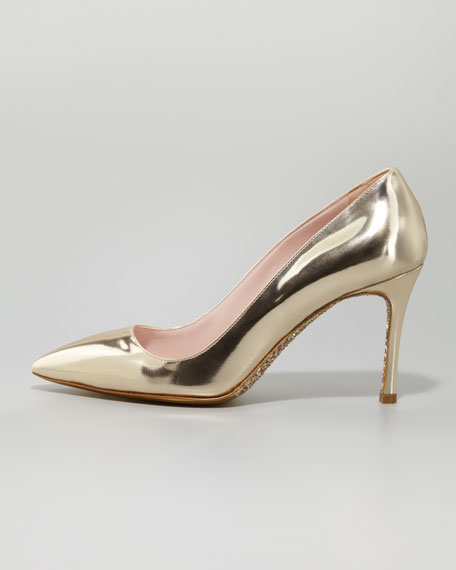Specchio Pointed Pump, Gold