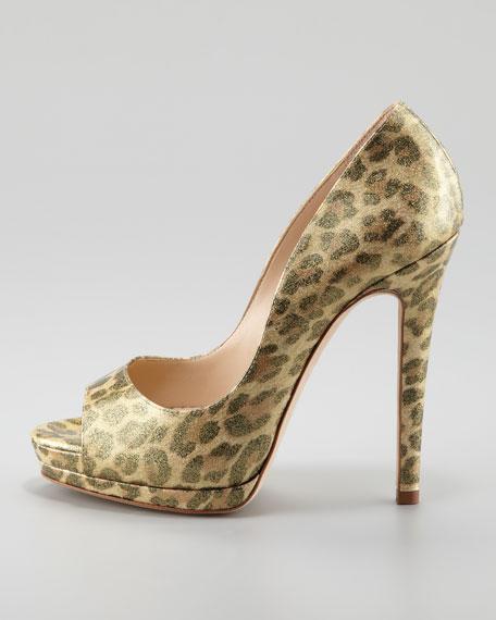Karina Glitter Leopard-Print Platform Pump