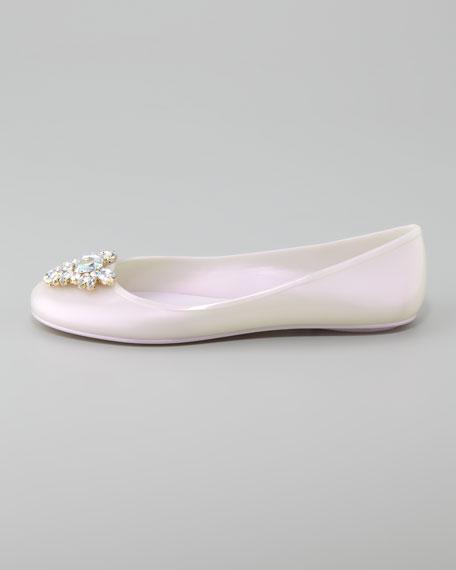Roxanna Jewel-Toe Jelly Flat, Opal