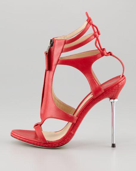 Merritta Zip-Front Sandal, Red