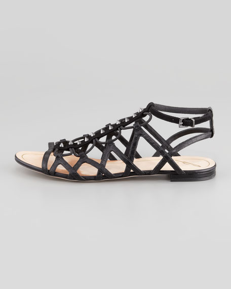 Agustina Stretch Flat Gladiator Sandal, Black