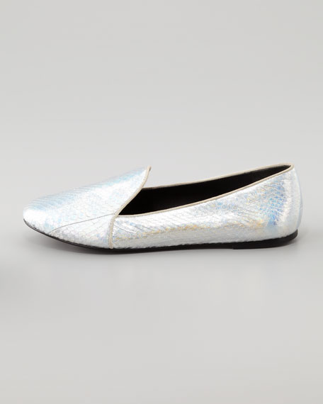 Claudelle Hologram Snakeskin Slipper, Silver