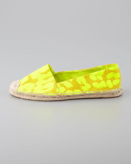 Gigi Cheetah Flat Espadrille, Yellow