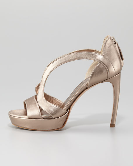 Low-Heel Double-Arched Metallic Leather Sandal, Rose