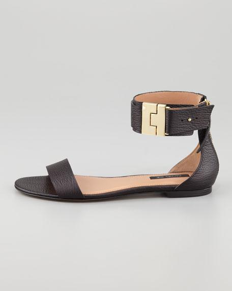 Gladys Leather Flat Sandal, Black