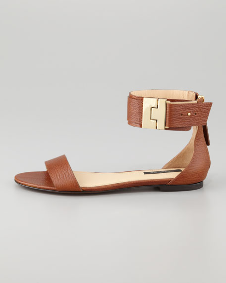 Gladys Leather Flat Sandal, Brown