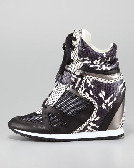 Geri Mixed Material Wedge Sneaker