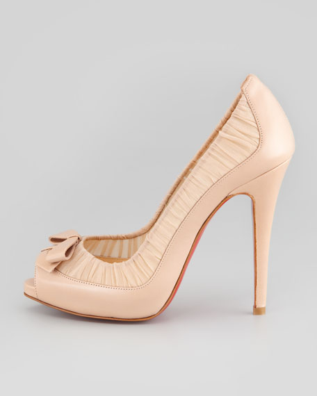 Angelique Chiffon & Leather Red Sole Pump, Nude