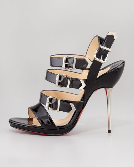 Funky Multi-Buckle Patent Red Sole Sandal