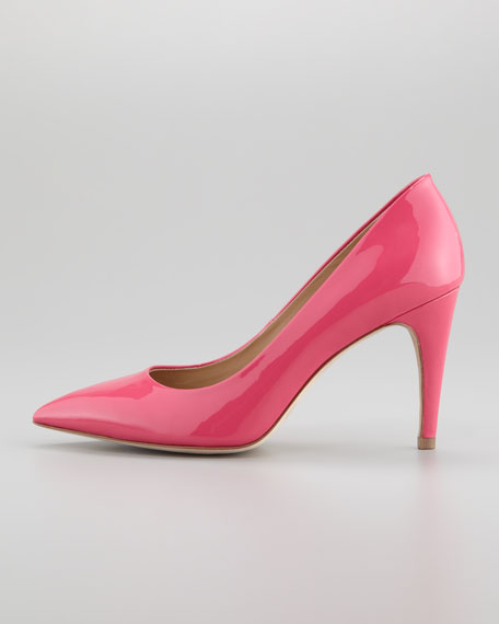 Anette Patent Pointed-Toe Pump, Rose Garden