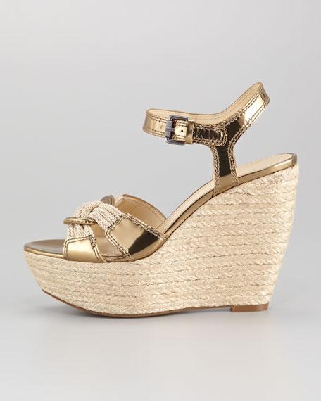 Tamarind Braided Metallic Specchio Sandal, Khaki/Gold