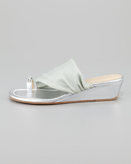 Delia Crystal Toe Ring Stretch Wedge Sandal, Silver