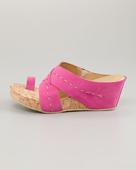 Gilana Wrapped Nubuck Cork Wedge, Fuchsia