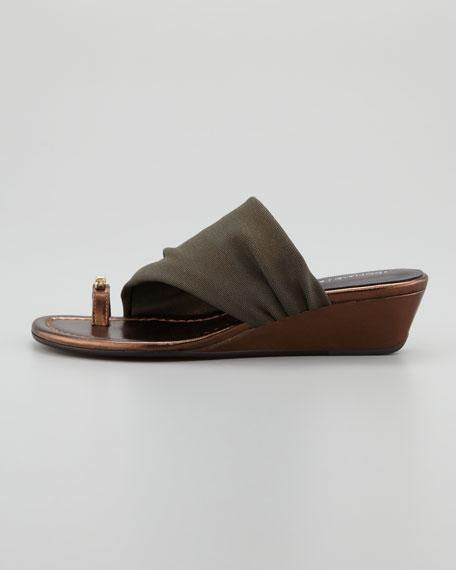 Delia Crystal Toe Ring Stretch Wedge Sandal, Bronze