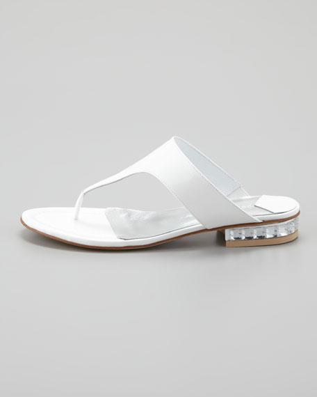 Connie Jewel-Heel Thong Sandal, White Pearl