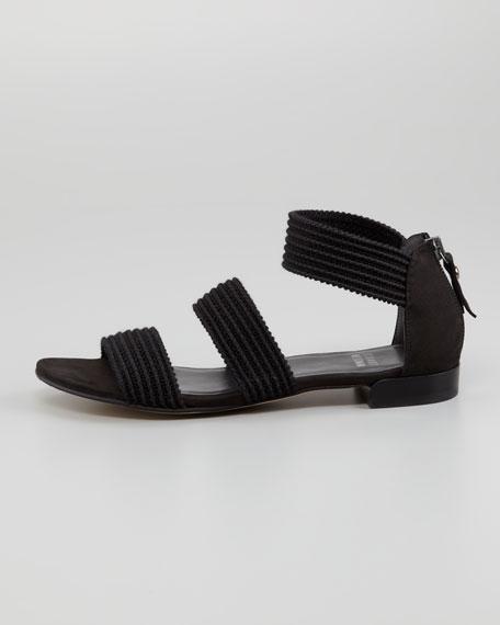 Ligament Ottoman Elastic Flat Sandal, Black