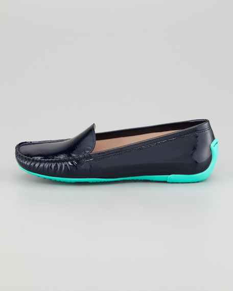Mach 1 Patent Leather Driver Moccasin, Navy