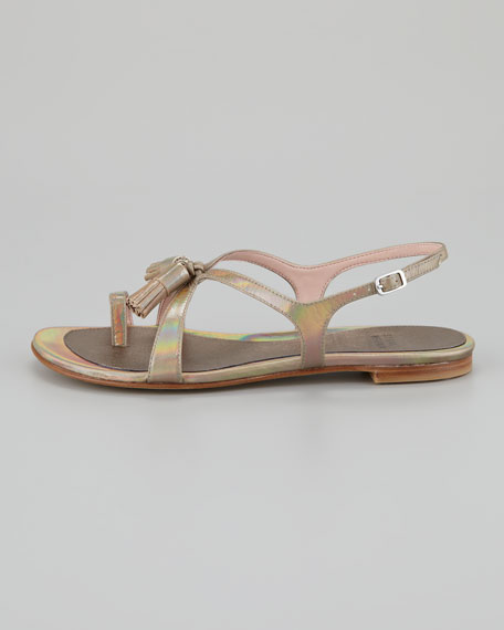 Flapper Holographic Leather Sandal, Steel