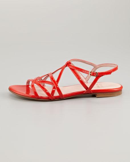 Transito Strappy Flat Sandal, Poppy Red