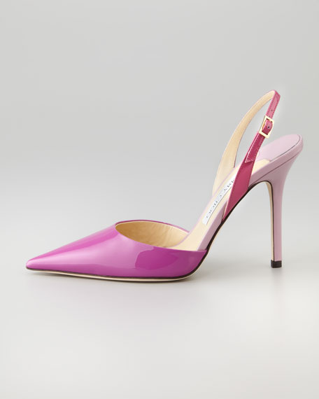 Volt Patent Pointed Slingback, Orchid/Cyclamen