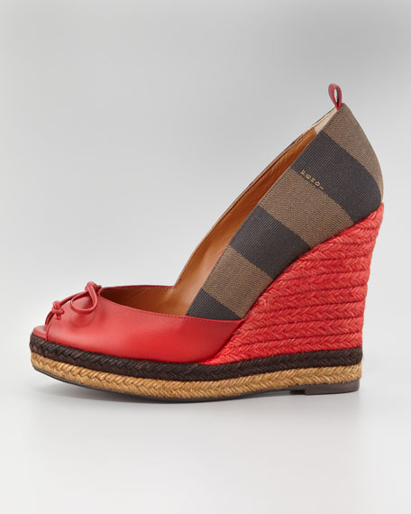 Pequin Stripe Espadrille Wedge, Red