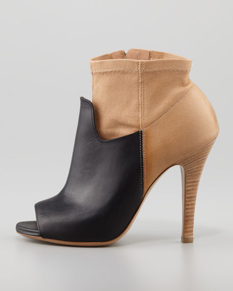 Two-Tone Stretch Leather Bootie