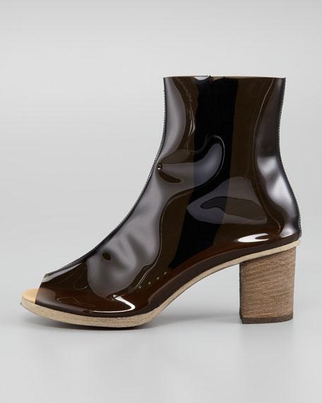 PVC Peep-Toe Ankle Boot