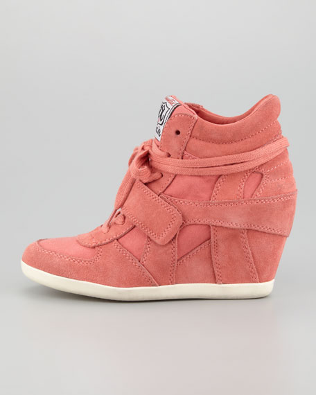 Bowie Suede & Canvas Wedge Sneaker, Peach