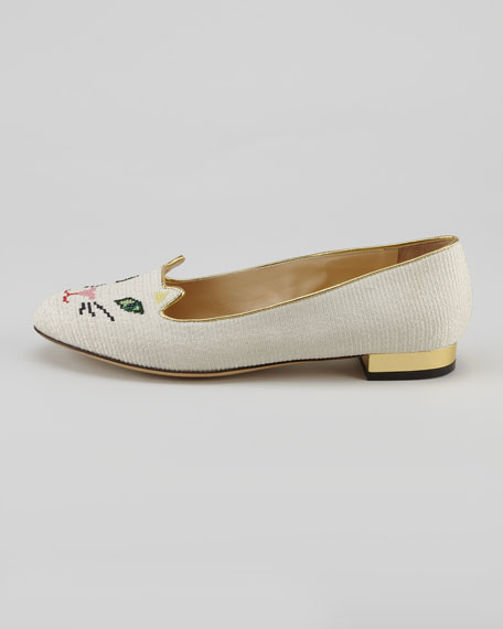 Kitty Cat-Embroidered Slipper, White