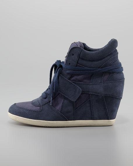 Bowie Suede Wedge Sneaker, Navy