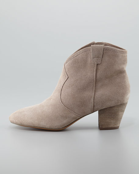 ash suede low heel ankle boot
