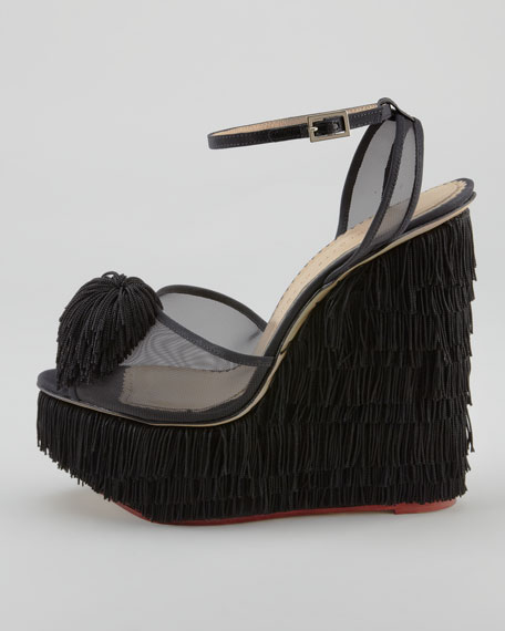 Gigi Fringe Wedge Sandal, Black