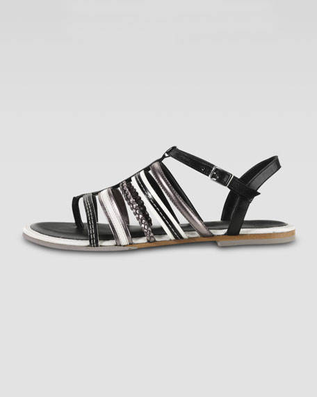 Nassau Braided Flat Sandal, Black/Ivory/Gunsmoke