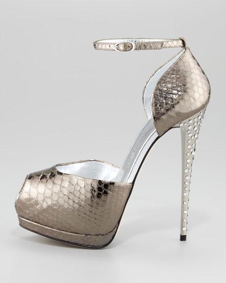 Metallic Snake-Print Ankle-Wrap Pump